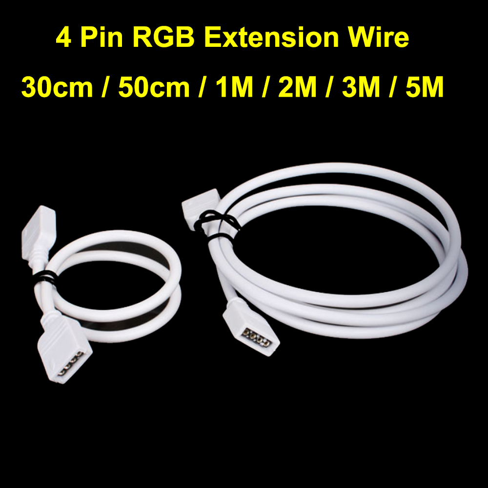 tanbaby 4 pin rgb led connector extension wire 30cm 50cm 1m 2m 3m 5m cable with 4pin for 3528. Black Bedroom Furniture Sets. Home Design Ideas