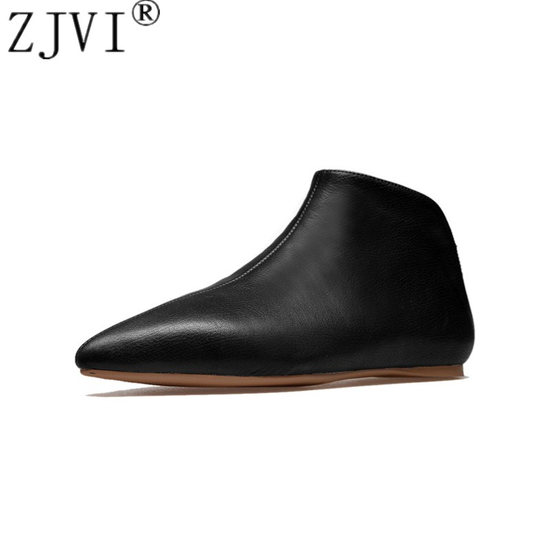 ZJVI women cow genuine leather ankle boots womens winter autumn flat 2019 black white woman flats ladies pointed toe shoes