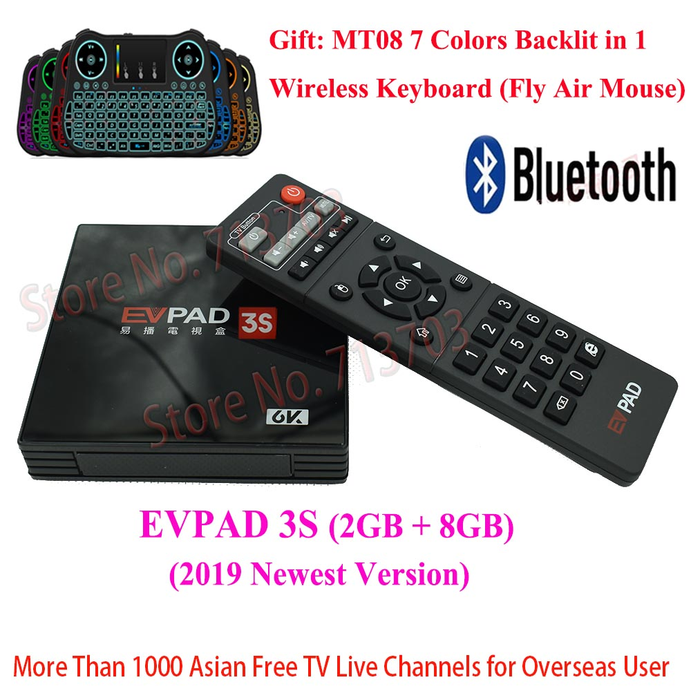 2019 IPTV EVPAD 3 S 8 GB 4 K Smart TV Box Android Spagna Giapponese Coreano Singapore HK Malaysia Taiwan canali TV, tastiera senza fili