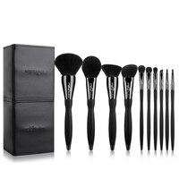New Arrival Black10pcs Makeup Brushes Set Professional Cosmetics Eyebrow Foundation Shadows Kabuki Make Up Beauty Tools
