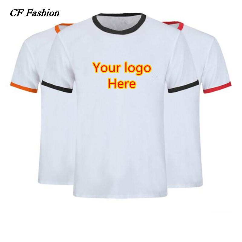 Quick custom logo tshirts quality black red brim sleeve Bulk quality t shirts