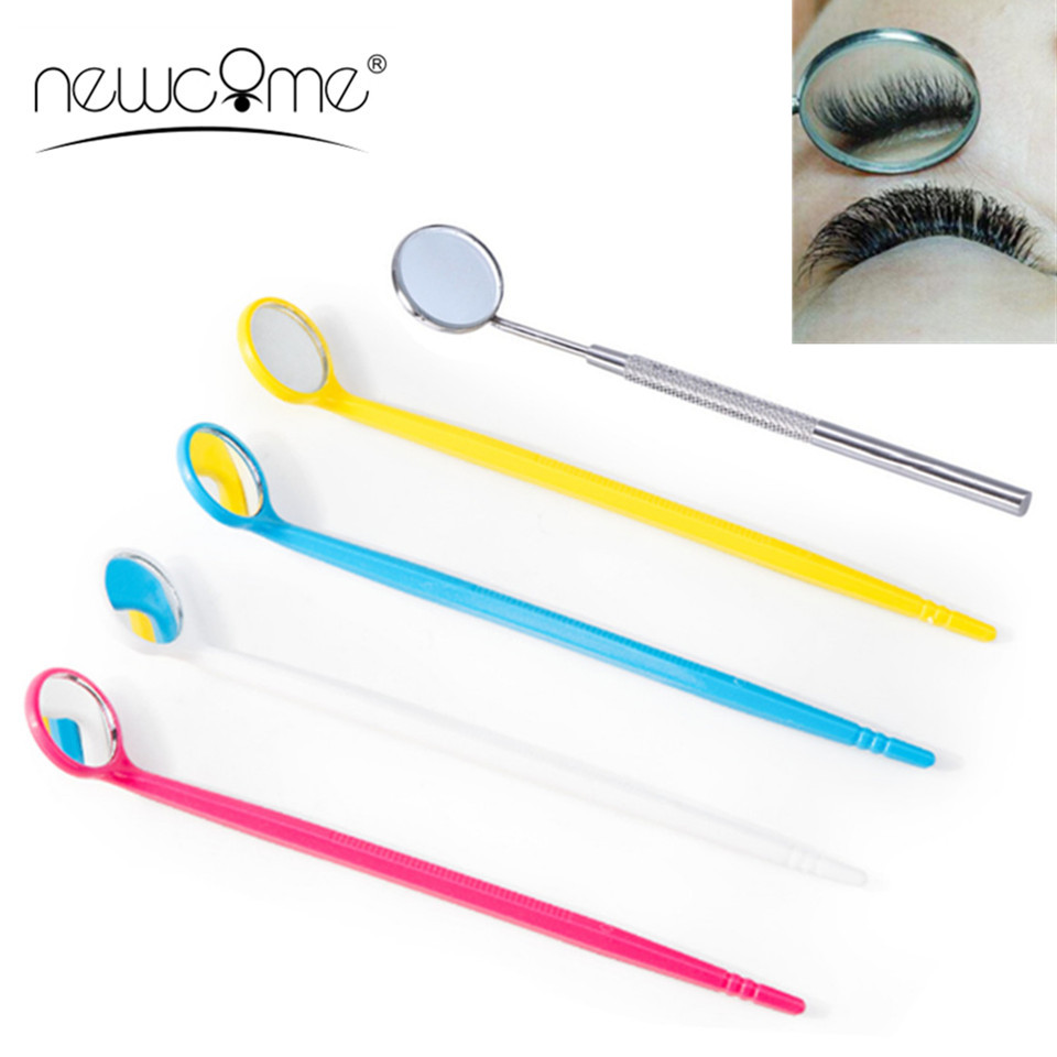 NEWCOME 1PC Stainless Steel Checking Mirror For Eyelash Extension Plastic Steel Check Mirror Mouth Tooth Professional