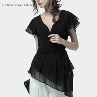 2019 Summer Tunic Black Long Chiffon Blouse With Belt Crossed Lace Up High Waist Women Shirt Sexy V Neck OL Workwear Formal Tops