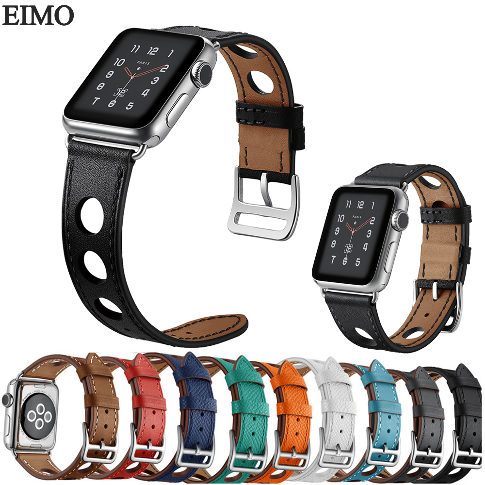 EIMO New Genuine leather loop watch strap For Apple Watch band 42mm 38mm Single Tour leather band for Hermes iwatch 3/2/1 istrap black brown red france genuine calf leather single tour bracelet watch strap for iwatch apple watch band 38mm 42mm