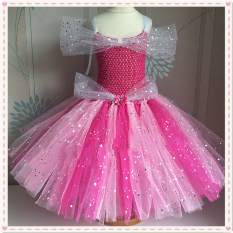 0d3eaf6d6 Sparkly Sleeping Beauty Dress Aurora Inspired Handmade Kids Girls Dress  Sparkly Pink Princess Baby Girl Tutu Dress Cosplay Party-in Dresses from  Mother ...