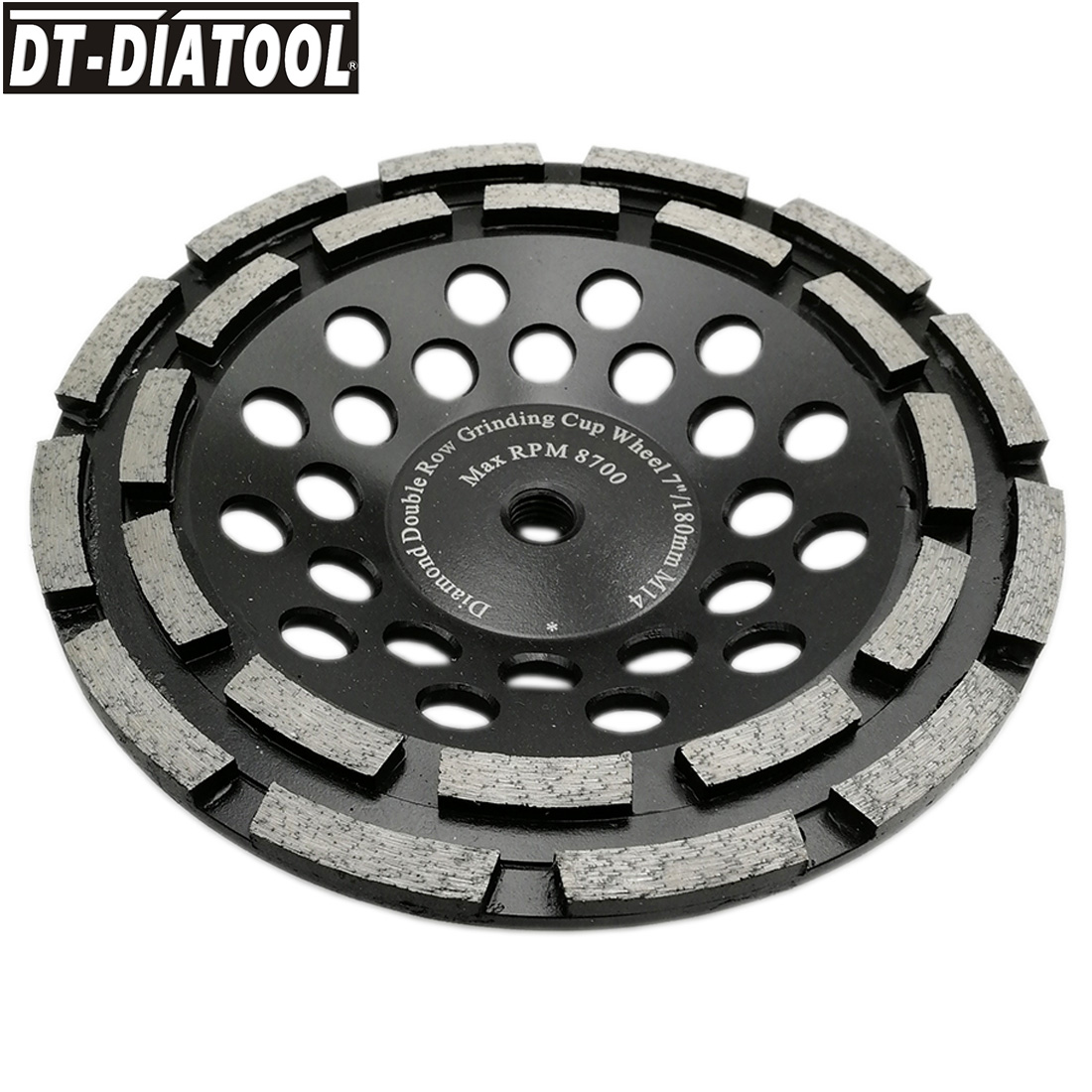 DT-DIATOOL 1pc Dia 180mm/7inch Premium Diamond Double Row Cup Grinding Wheel with M14 connection for Concrete Hard Stone Granite dt diatool 2pcs dia 7 double row diamond grinding cup wheel with 5 8 11 thread for concrete hard stone granite dia 7inch 180mm