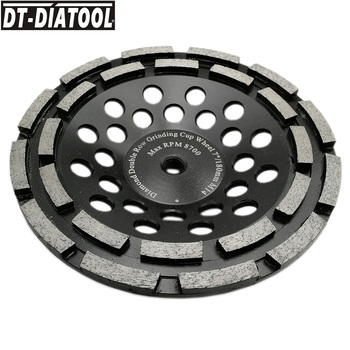 DT-DIATOOL 1pc Dia 180mm/7inch Premium Diamond Double Row Cup Grinding Wheel with M14 connection for Concrete Hard Stone Granite