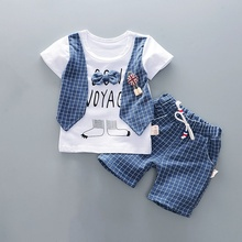 summer Baby clothes for boys fake 3pcs cartoon plaid short sleeve shorts and casual pants suit