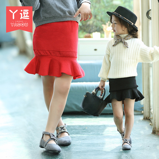 Girls skirts autumn 2016 new children's knitted skirt tail princess skirt free shipping