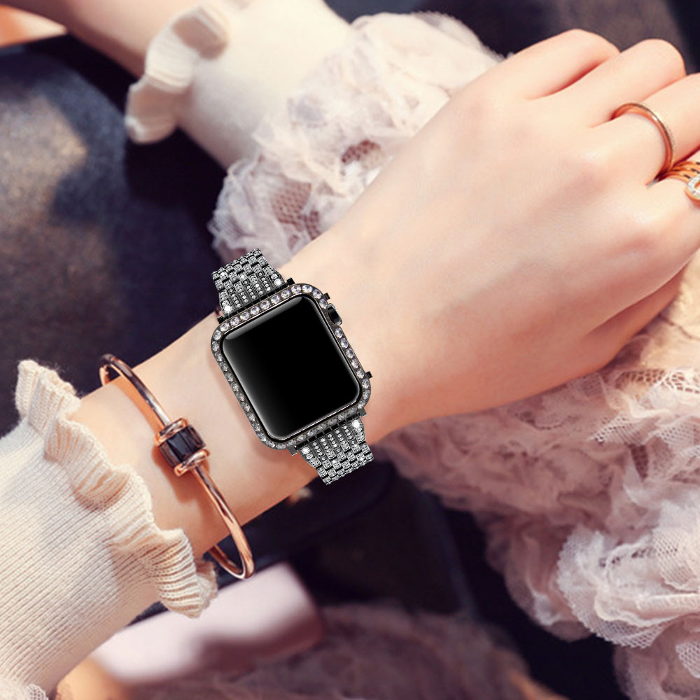 Luxury Metal Diamond Case For Apple Watch Series 4 3 2 1 Stainless Steel strap watch bands for iWatch bracelet 38 42 mm 40 44mm in Watchbands from Watches
