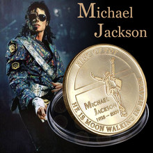 Hot Sale Commemorative metal Gold Plated Souvenir Coin Michael Jackson MJ King of Pop Coin Novelty Metal Coins Home collection(China)