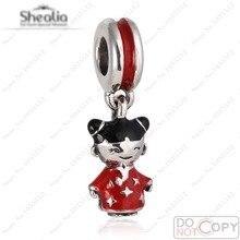 Esmalte rojo Chino Doll Charm Colgantes Para Pulseras Shealia Auténtica Plata de Ley 925 Bolas de Muñeca de Diy Pulseras de La Joyería