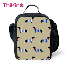 Thikin Dachshund Cartoon Cooler Lunch Box Portable Insulated Bag Tote PouchThermal Food Picnic Bags For Women Kids