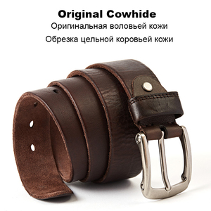 Image 2 - Men Belt Top Layer Leather Casual Belts Vintage Handmade Design Pin Buckle Genuine Leather Belts Male Waistband
