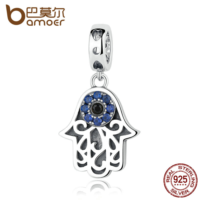 BAMOER Auge Design Serie 100% 925 Sterling Silber Blau Böse Auge Anhänger Fit Armbänder & Armreifen Modeschmuck SCC085