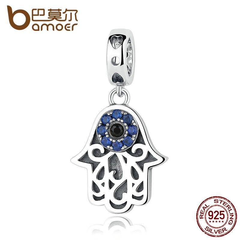 BAMOER Eye Design Serie 100% 925 Silver Blue Malvagio Occhio Del Pendente Misura I Braccialetti & Braccialetti Gioielli di Moda SCC085