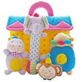 SHILOH Soft Plush Stuffed 4 Animals Family Model Toy Infants Baby Hand Toy Rattles High-Class Rattle Bag Boy Girl Gift