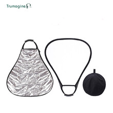 TRUMAGINE 60CM 2 in 1 Portable Collapsible Triangle Light Reflector For Photographic Studio With Handle And Carry Bag