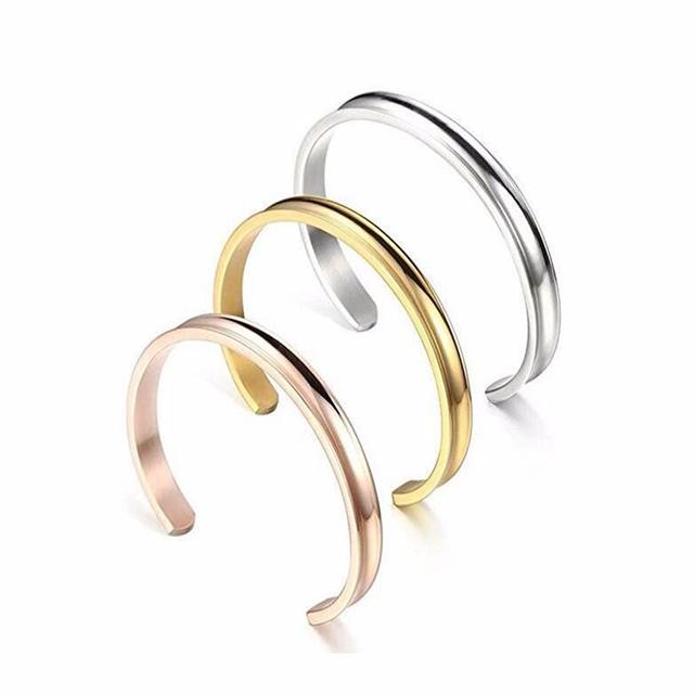 3 pcs liga de zinco de aço inoxidável rosa de ouro & prata aptoco sulco cuff pulseiras de ouro para as mulheres hot moda