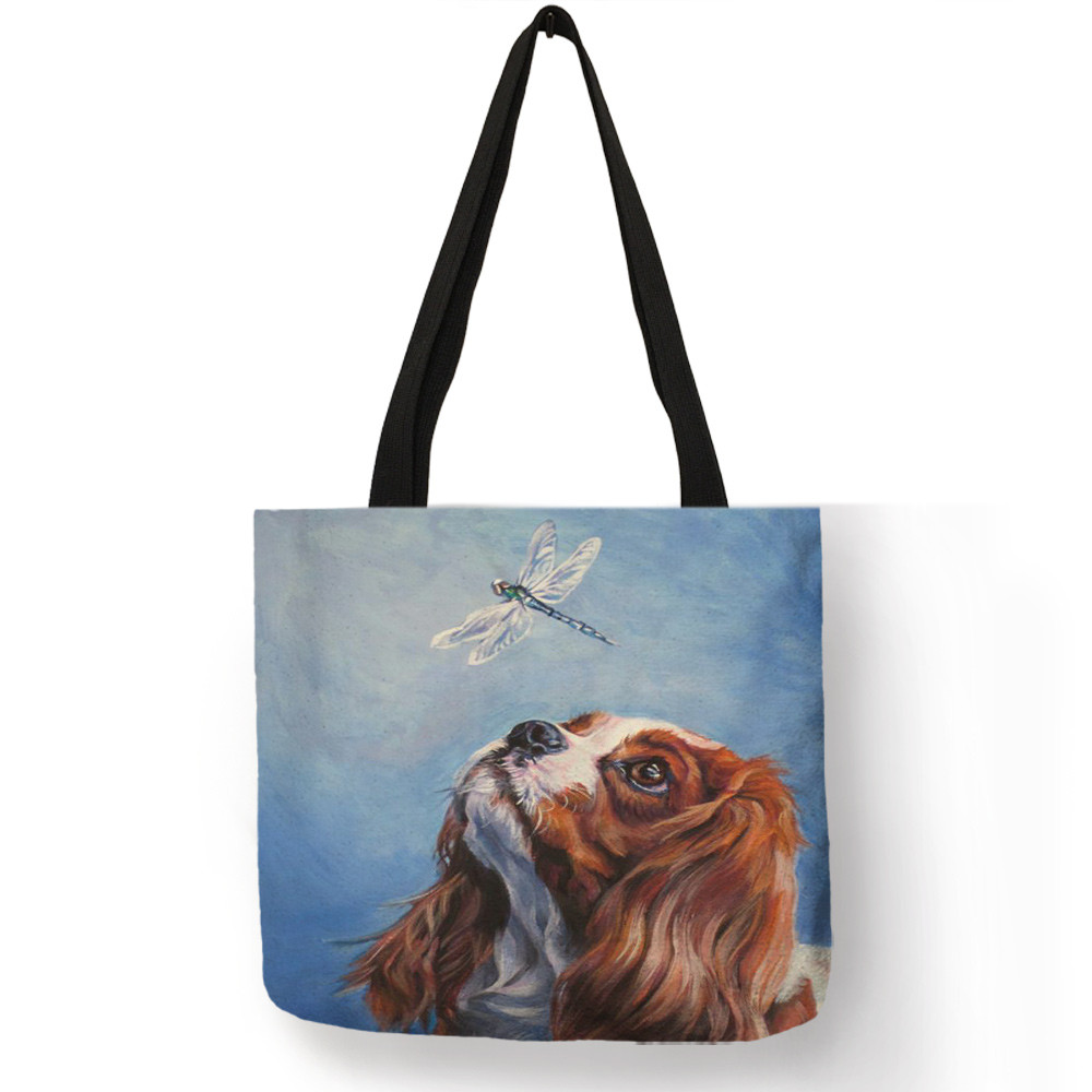 Kawaii Puppies Charles Spaniel Dog Oil Painting Print Women Handbag Casual Shoulder Bags For School Work Reusable Shopping Tote