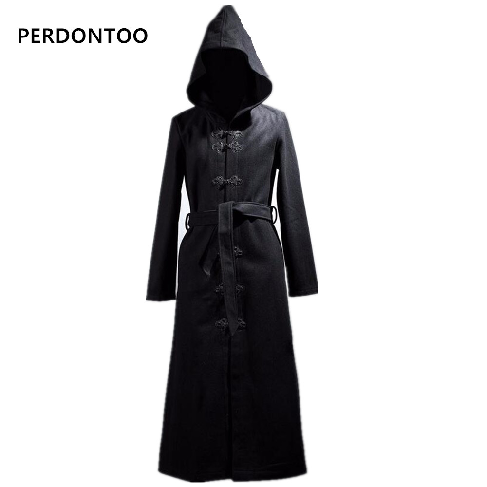Winter Jacket Fashion Harajuku Men Wool Belt Coat Overcoat Brand Cool Gothic Clothing Black Extra Long Mens Pea Coat With Hood