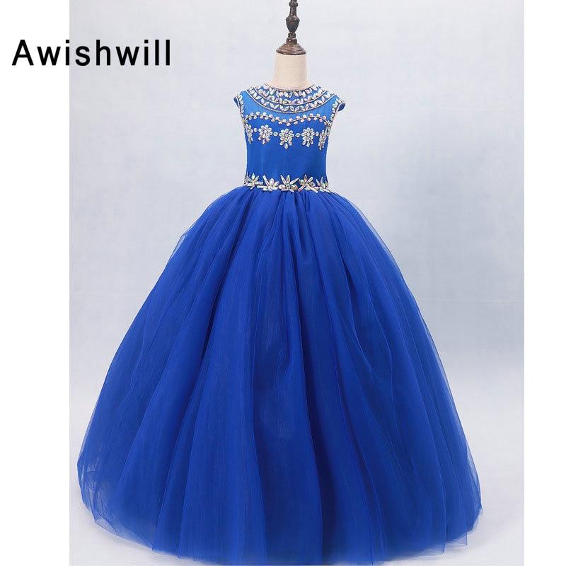 Royal Blue Flower Girl Dresses for Weddings With Beads Tulle Cap ...