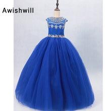 Azul Royal Flower Girl Vestidos para Casamentos Com Beads Tulle da Luva do Tampão vestido de Baile Princesa Concurso Vestido Da Menina de vestido de daminha