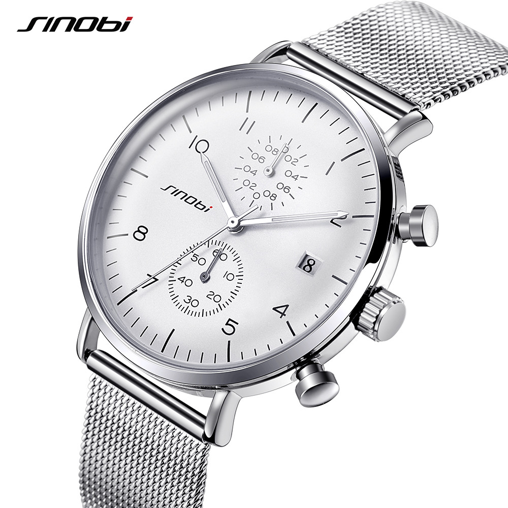 SINOBI Mens Watches Top Brand Luxury Stainless Steel Wristwatch Men Ultra Thin Dial Quartz Watch Relogio Masculino 2018 #9710 fashion watch top brand oktime luxury watches men stainless steel strap quartz watch ultra thin dial clock man relogio masculino
