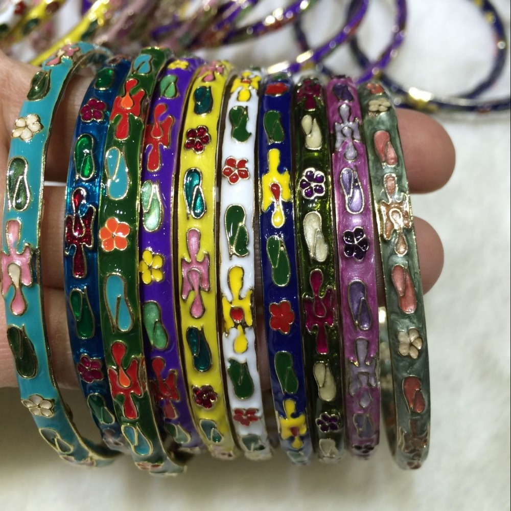 Wholesale 10PCS Chinese Handmade Cloisonne Enamel Cuff Hollow Bracelet Bangle Gift