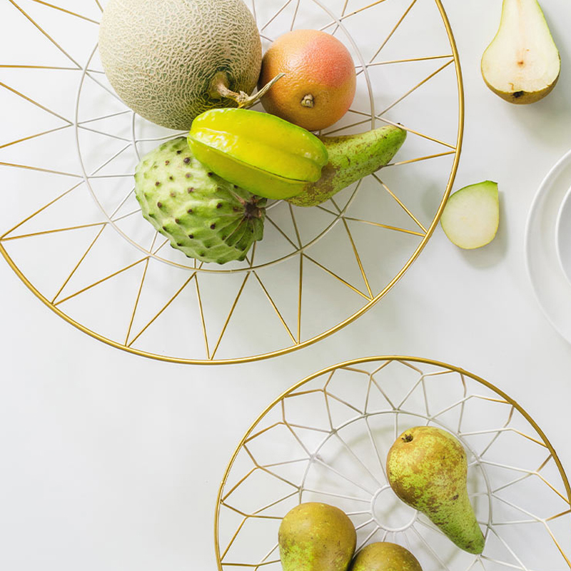 Gold white Food fruit metal Nordic Modern kitchen bread Storage Basket Industrial Style table Wire Holder sundries geometry