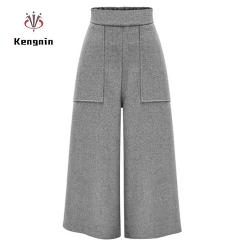 2019 Winter European Style Plus Size 4XL Women Wool Wide Pants Casual Elastic Waist Trousers Pockets High Waist Female Capris