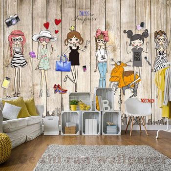 3D Mural Hand-Painted Fashion Girl Wallpaper For Children Room-Free Shipping 3D Wall Stickers For Kids Rooms