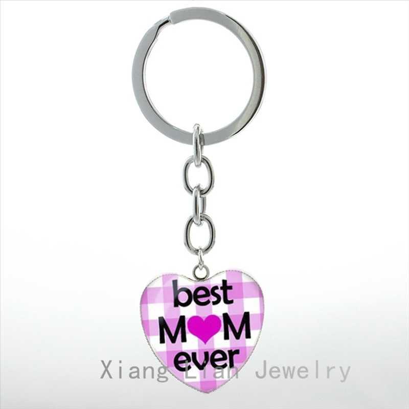 Presentes Dia das mães Melhor Mãe Sempre pingente de coração amor chaveiro mãe mulheres jóias Sereia Beijo chains anel chave do chuveiro de Bebê HP192