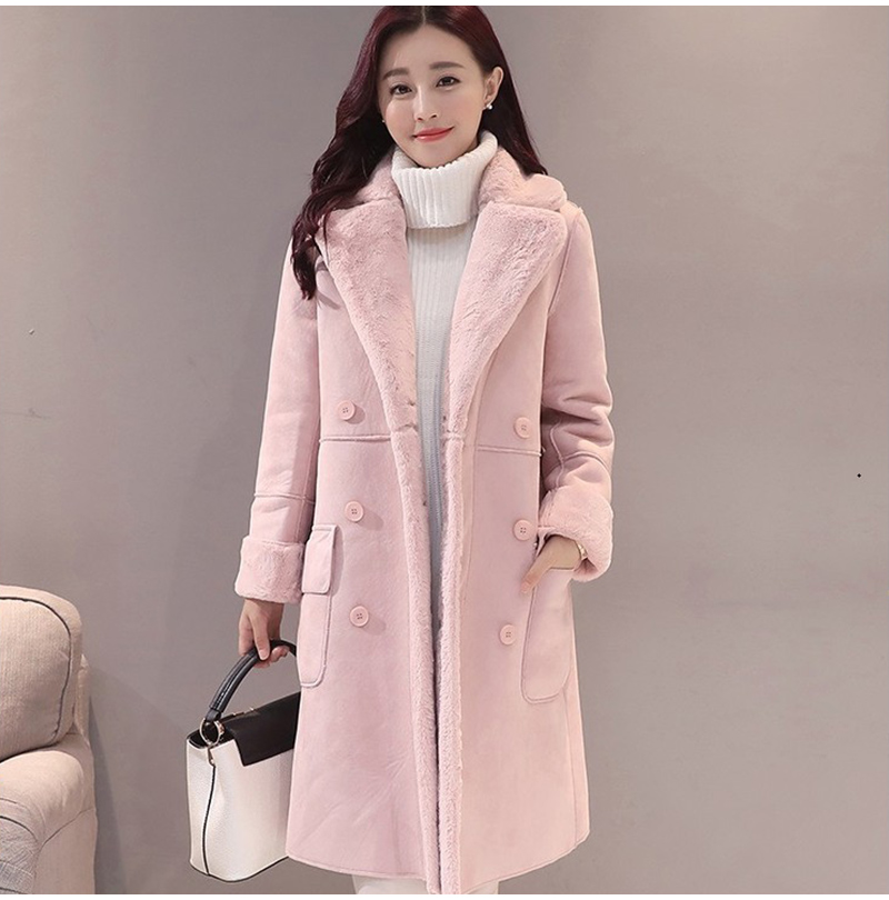 Women Fuax Fur Big Collar Outcoat Trench Coat Warm Winter Thick Parka Jacket