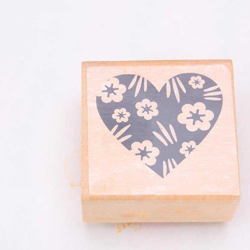 4 Pcs Cinta Jantung DIY Kayu Stempel Karet Seal Embossing Alat untuk Pernikahan Scrapbooking