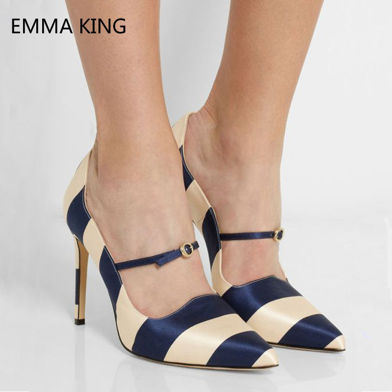 Women Shoes Fashion Satin Fabric Nude And Blue Buckle Mary Jane Pumps Ladies Shoes Shallow Stiletto High Heels For Party WeddingWomen Shoes Fashion Satin Fabric Nude And Blue Buckle Mary Jane Pumps Ladies Shoes Shallow Stiletto High Heels For Party Wedding