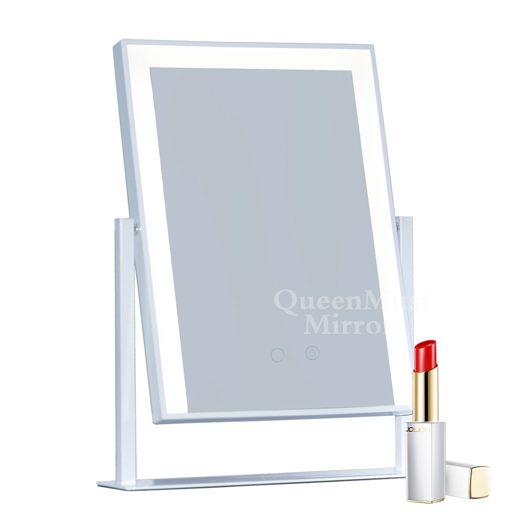 Hollywood Mirror Led Lighted Makeup Mirror Strip Lights Cosmetic Travel Touch Control Design 10x Magnification Vanity Mirror