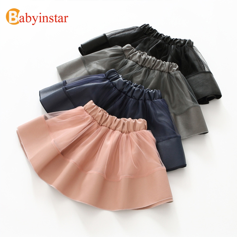 Babyinstar Girls PU Leather Skirts with Mesh Patchwork Children's Skirt 2018 New Autumn Baby Outwear Fashion Style Kids Skirts