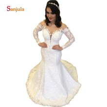 Sunzeus Long Sleeve Mermaid Wedding Dresses