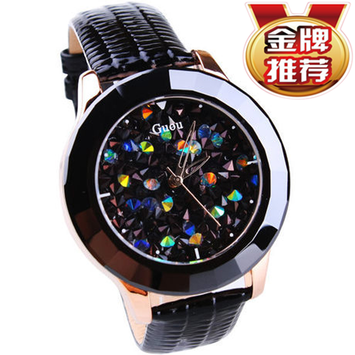 Luxury GUOU Brand Genuine Leather Strap Women Watch Full Crystal Dress Watches Ladies Diamond Rhinestone Quartz With Logo Watch