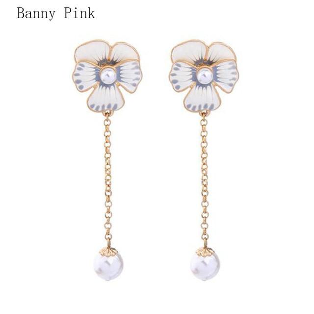 Handmade Epoxy Alloy Pendant Studs Earrings For Women Cute Long Post Fashion Jewelry Penntes