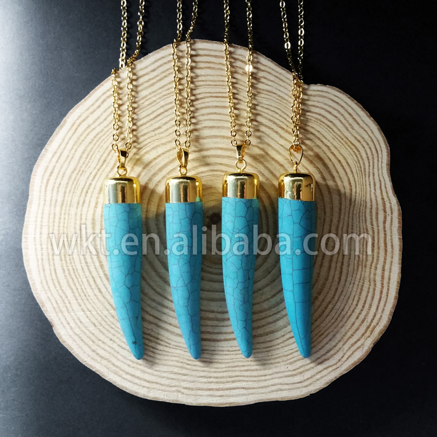 WT N566 Natural long tusk howlite necklace fashion long tusk howlite necklace in 24k gold trim