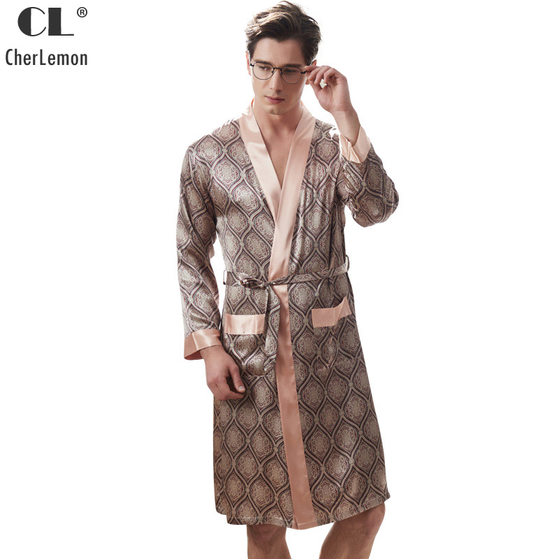 CherLemon Mens Silk Satin Long Sleeved Kimono Bathrobe Male Spring Summer Classic Geomtric Plaid Pattern Robe Nightwear L-3XL