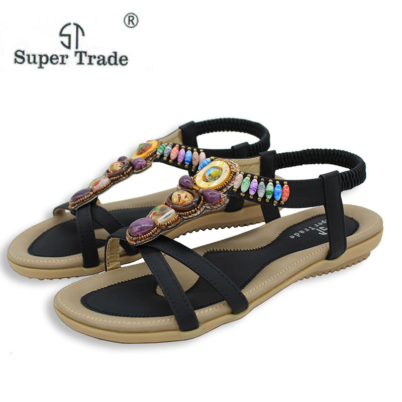 Size 42-45 New National Women Sandals Bohemia Flats Beaded Size Foreign Trade Shoes Summer Shoes Women Shoes Hot Sell STA8-1 vintage embroidery women flats chinese floral canvas embroidered shoes national old beijing cloth single dance soft flats