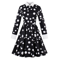 Sisjuly Vintage Dress Autumn Black White Polka Dots A Line Cotton Dress Retro Long Sleeve Fashion