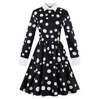 Sisjuly Vintage Dress Autumn Black White Polka Dots A Line Cotton Dress Retro Long Sleeve Fashion