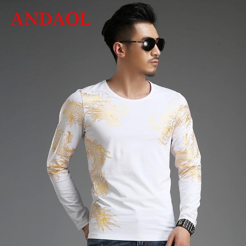 ANDAOL T-shirts pour hommes Top qualité col rond Slim imprimé Dragon chemise à manches longues décontracté luxe Muscle basique Blouse T-shirts