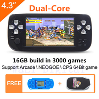 JXD 16GB 4.3 inch dual core Handheld Video Game Console build in 3000 game for NEOGEO\CPS\GBA\GBC\GB\SFC\FC\MD\GG\SMS MP4 PDF