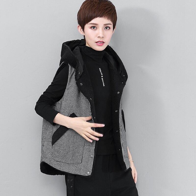 Starke Mit Kapuze Weste Frauen Zwei Seiten Tragbar Getäfelten Designs Solide Taschen Sleeveless Mantel 2 Farben Beiläufige Weste Neue Mode 2018