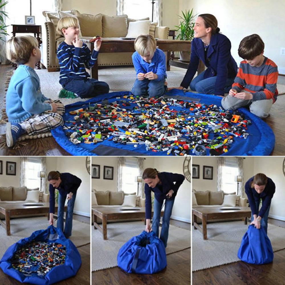 150cm Toy Storage Bag TIDY Organizer Rug For Legos Portable Kid 2 in 1 Play Mat